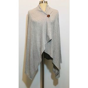 Bobeau Gray Single Button Open Front Cardigan M